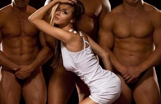 hot girl and three men